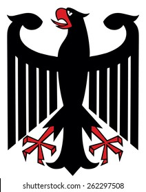 The Coat of Arms of Germany features a black eagle called the Bundesadler. Coat of arms of Germany, black eagle on white background.