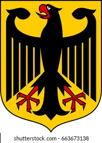 Coat of arms of Germany, officially the Federal Republic of Germany is a federal parliamentary republic in central-western Europe. Vector illustration from Giovanni Santi-Mazzini Heraldic 2003