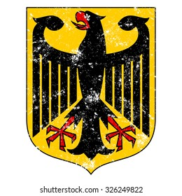 Coat of arms of Germany symbol with grunge old effect. Vector of the Bundesadler or Federal Eagle, formerly the Reichsadler or Imperial Eagle.