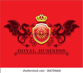 Coat of arms Golden Crown and Shield with Dragons Royal Business