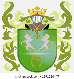 Coat of arms - green. Knight Armour. Crown. Coat of arms of knight rituals and cannon. Family coat of arms depicting angels and skids. Flat design, vector illustration, vector.