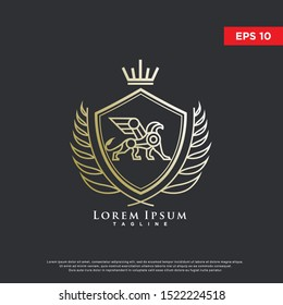 coat of arms griffin logo. luxurious icon, template design