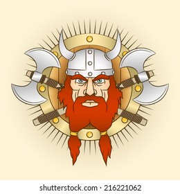 Coat of arms  head of a Viking with crossed axes and shield. Emblem - northern bearded warrior in a horned helmet.