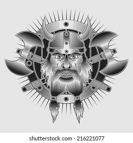 Coat of arms head of Viking in horned helmet with crossed axes and shield. In the style of tattoos or engraving.
