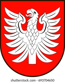 """Coat of arms of Heilbronn is a district in the north of Baden-Wurttemberg, Germany. Vector illustration from the """"Heraldry of the World"""" authors and compilers Olga Bortnik, Ivan Rezko, 2008"""