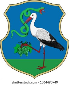 Coat of arms of Heves lies in northern Hungary. Vector illustration
