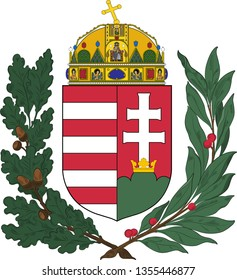 Coat of arms of Hungary is a country in Central Europe. Vector illustration