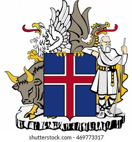 Coat of arms of Iceland - vector illustration.