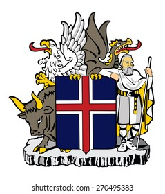 Coat of arms of Iceland vector image of the national coat of arms of Iceland. Original and simple Coat of arms of Iceland, isolated vector in official colors and Proportion Correctly