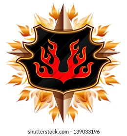 coat of arms with the image of the flame in the background of floral ornament