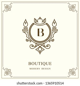 Coat of Arms. Initial Letter B. Heraldic Royal Frame with Crown. Simple Composition. Graphics Style. Logo Design. Abstract Monogram for Personal Emblem, Wedding, Boutique, Hotel. Vector Illustration