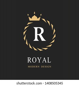 Coat of Arms. Initial Letter R. Heraldic Royal Frame with Crown. Abstract Laurel Wreath. Simple Classic Emblem. Round Composition. Graphics Style. Art Elements for Logo Design. Vector Illustration