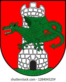 Coat of arms of Klagenfurt is the capital of the federal state of Carinthia in Austria. Vector illustration