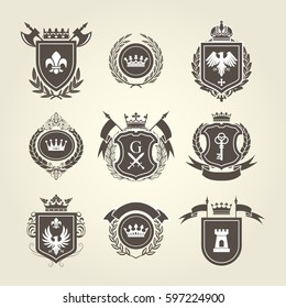 Coat of arms and knight blazons - heraldic shields