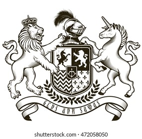Coat of arms of  Knight. Vector Illustration.