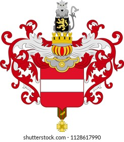 Coat of arms of Leuven or Louvain is the capital of the province of Flemish Brabant in Belgium. Vector illustration