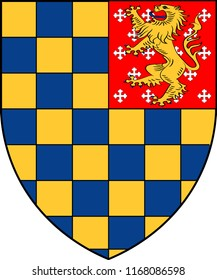 Coat of arms of Lewes is the county town of East Sussex and formerly all of Sussex in England. Vector illustration