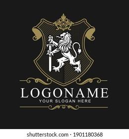 Coat of arms Lion Crest design vector