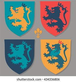 Coat of arms with lions and crown.