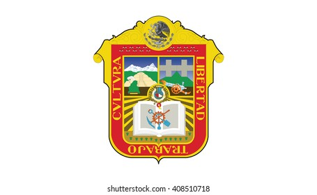 Coat of arms of Mexican state of Mexico; isolated on white background