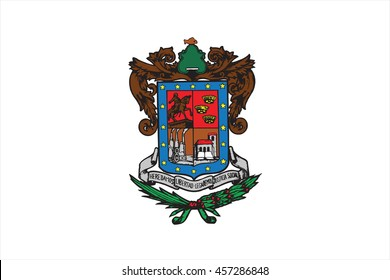 Coat of arms of Mexican state of Michoacan; isolated on white background.