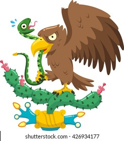 coat of arms of mexico cartoon illustration of an eagle hunting a snake standing on a nopal cactus