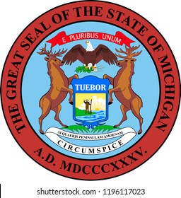 Coat of arms of Michigan is a state in United States. Vector illustration