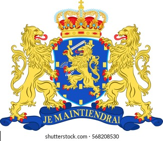 Coat of arms of Netherlands or Kingdom of the Netherlands. Vector illustration