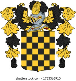 Coat of arms of a noble family; shield, helmet, crest and external ornaments comply with heraldic rules