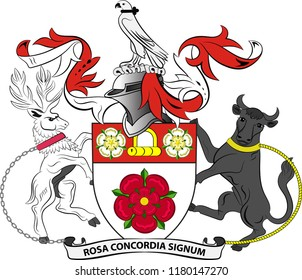 Coat of arms of Northamptonshire is a county in the East Midlands of England. Vector illustration