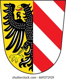 "Coat of arms of Nuremberg is a city in Bavaria of German. Vector illustration from the ""Heraldry of the World"" authors and compilers Olga Bortnik, Ivan Rezko, 2008"