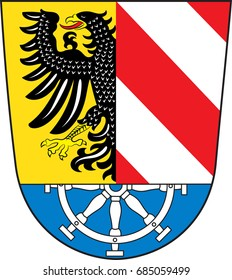 "Coat of arms of Nuremberg Land in Bavaria of German. Vector illustration from the ""Heraldry of the World"" authors and compilers Olga Bortnik, Ivan Rezko, 2008"