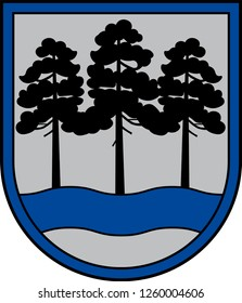 Coat of arms of Ogre Municipality is a municipality in Vidzeme, Latvia. Vector illustration