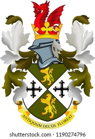 Coat of arms of Oldbury is a town in Sandwell, West Midlands, England. Vector illustration