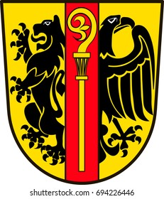 "Coat of arms of Ostalbkreis is a district in the east of Baden-Wurttemberg, Germany. Vector illustration from the ""Heraldry of the World"" authors and compilers Olga Bortnik, Ivan Rezko, 2008"