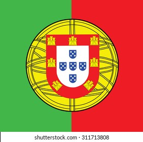Coat of arms of Portugal vector illustration isolated ower background.