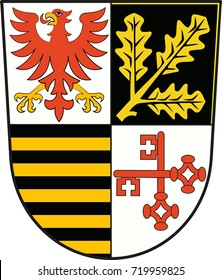Coat of arms of Potsdam-Mittelmark is a district in the western part of Brandenburg, Germany. Vector illustration