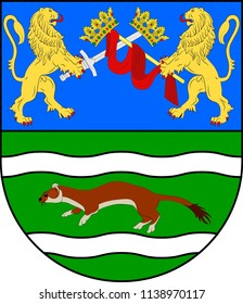 Coat of arms of Pozega-Slavonia County is a Croatian county in western Slavonia. Vector illustration
