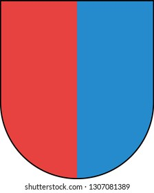 Coat of arms of Republic and Canton of Ticino is the southernmost canton of Switzerland. Vector illustration