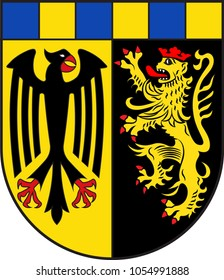 Coat of arms of Rhein-Hunsrueck-Kreis is a district in the middle of Rhineland-Palatinate, Germany. Vector illustration