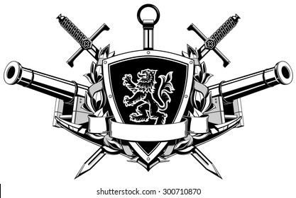 the coat of arms with ribbon, swords, wreath, anchor and guns