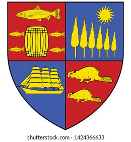 Coat of arms of Saint John is a port city on the Bay of Fundy in the Canadian province of New Brunswick. Vector illustration