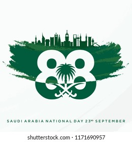 Coat of Arms with Saudi Arabia Building Skyline. Saudi National Day. 88. 23rd September. Vector Illustration. Eps 10.