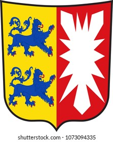 Coat of arms of Schleswig-Holstein is the northernmost of the 16 states of Germany. Vector illustration