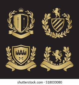 Coat of arms set. Based on and inspired by old heraldry. With Lion, laurel and oak wreaths and ribbons