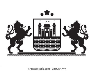 Coat of arms - shield with fortress, brick wall and two standing lions at sides on plinth. Based on and inspired by old heraldry.