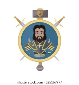 Coat of arms shield with swords and hummer vector. Flat style. Cold weapon and armor with king portrait. Illustration for games industry concepts, icons and pictograms. Isolated on white background.