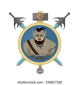 Coat of arms shield with swords and hummer vector. Flat style. Cold weapon and armor with orc portrait. Illustration for games industry concepts, icons and pictograms. Isolated on white background.