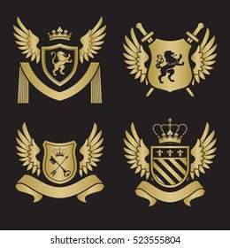 Coat of arms - shield with swords, lion, two wings at the sides. Based on and inspired by old heraldry. gold color on black background