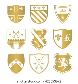 Coat of arms silhouettes for signs and symbols (safety, security, military, medieval). Based on and inspired by old heraldry.